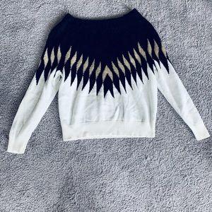 Soft black, white and gold metallic sweater M